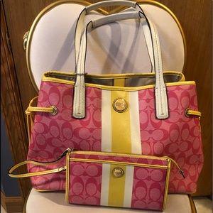 Pink Coach Purse & Wallet